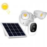 Utekamera med solcellepanel og lyskaster