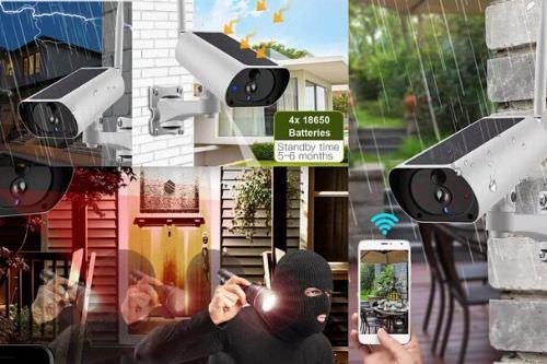 IP overvåkningskamera med solcellepanel