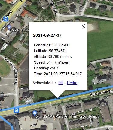 På Google map vises GPS data: Longitude, Latitude, Altitude, Speed, dato og klokkeslett