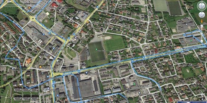 Rutehistorikk vises på Google Map