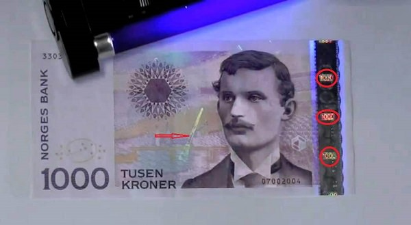 1000 kr. sedler under UV-lys
