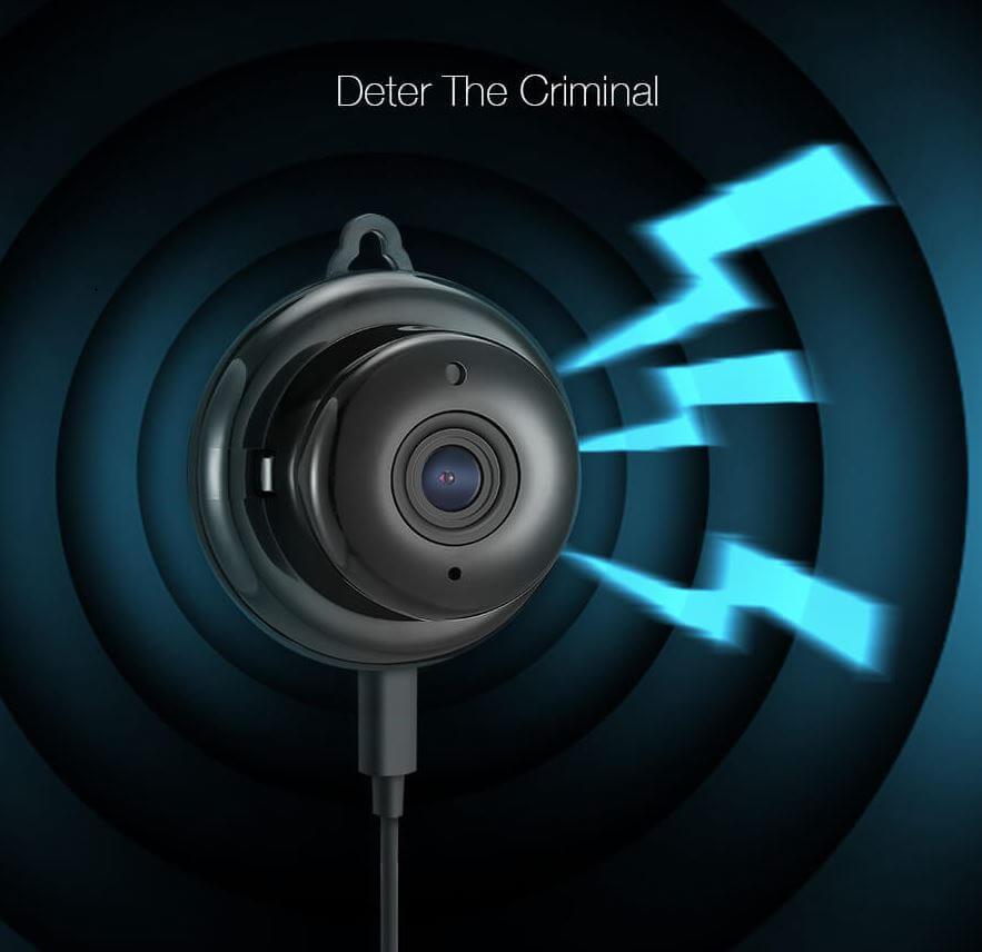 IP mini overvåkningskamera med sirene