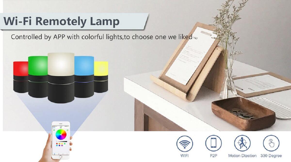WiFi borldlampe med skjult kamera