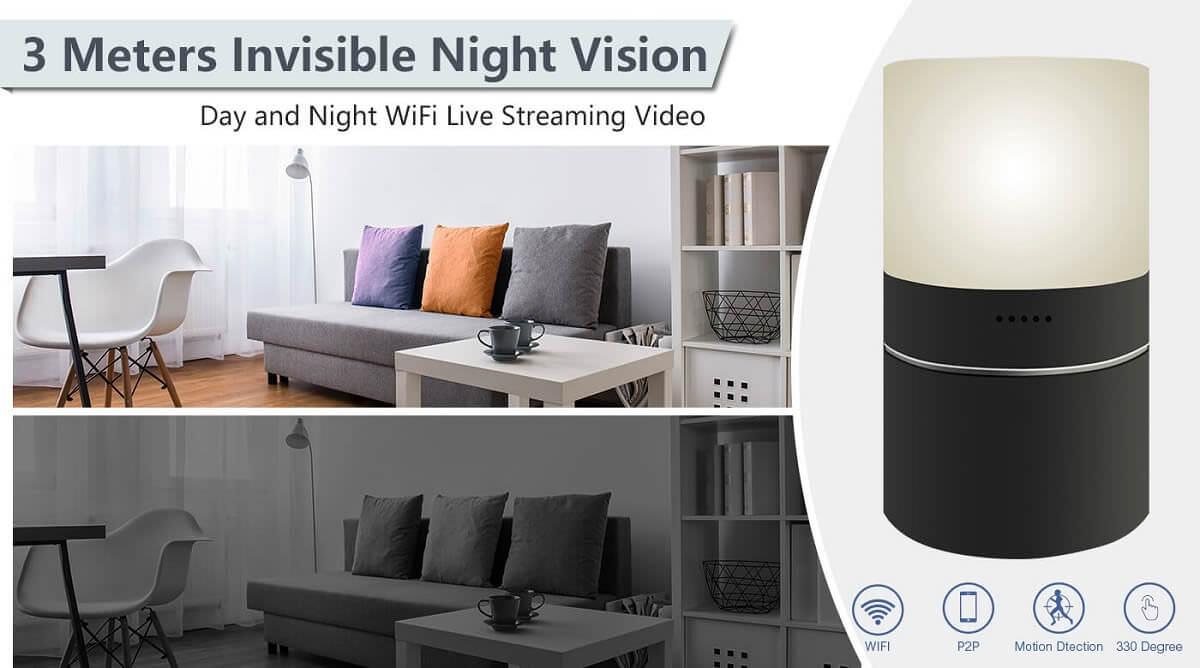 Nattsyn wifi spionkamera i bordlampe