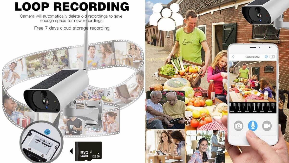 Solcelledrevet utendørs IP-kamera med loop recording