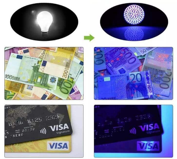 Avsløre falske pengesedler og ID kort via UV-lys